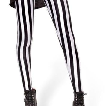 East Knitting Black & White Vertical Stripe Print Leggings