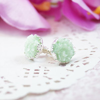 Glacier Green Faux Druzy Stud Earrings, Bridesmaid Gift, Jewelry From Sweden, Small Studs, Silver Earrings, Resin Jewelry