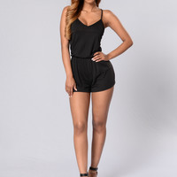 Easy Does It Romper - Black