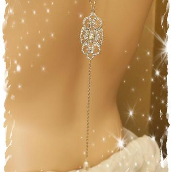 Bridal Backdrop Necklace, Art Deco Crystal Back Jewelry KATHRYN