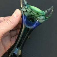 Lake Green Glass Pipe Silver and Gold Fumed Pattern and Slyme Honeycomb Horned Spoon Pipe