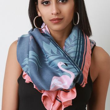 Flamingo Palm Scarf