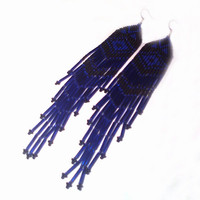 Extra Long Earrings. Black and Dark Blue Earrings. Native American Earrings Inspired. Shoulder Dusters. Beadwork