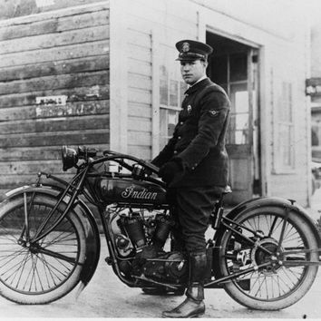 Policeman on Indian Motorcycle -Vintage/Antique Photograph Print
