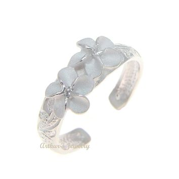 STERLING SILVER 925 HAWAIIAN 2 PLUMERIA FLOWER SCROLL TOE RING WHITE CZ