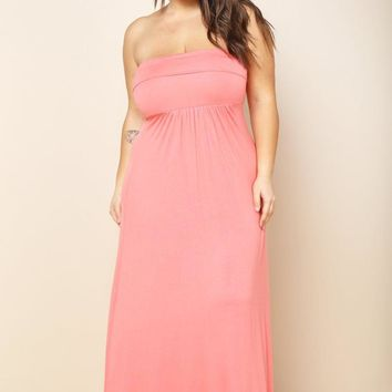 Strapless Tube Fold-over Plus Size Maxi Dress
