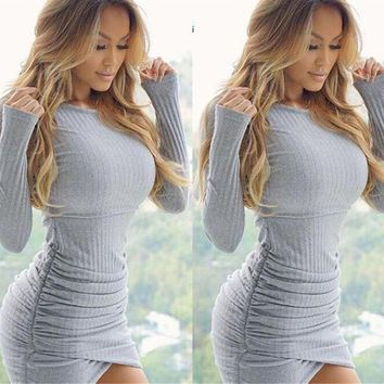 Solid Color Long Sleeve Bodycon Irregular Slim Fit Mini Dress Knitwear