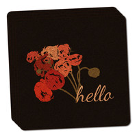 Hello Bouquet Flowers Ranunculus Thin Cork Coaster Set of 4