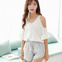 Stitching lace flower collar strapless tops