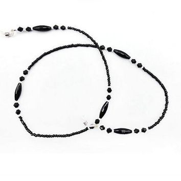 Womens fashion black Beaded Eyeglass Eyewears Sunglasses Reading Glasses Chain Cord Holder neck strap Rope