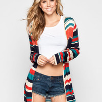 Full Tilt Womens Hooded Wrap Sweater Multi  In Sizes