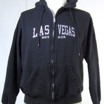 Las Vegas Hoodie Sweatshirt L Zip Up Nevada Black Embroidered Pacific & Company
