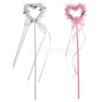 2pcs Lovely Heart Shape Princess Fairy Wand Kids Birthday Party Favour Gift