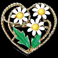 White Enamel Three Daisy Flowers with Yellow Centers in a Heart Brooch