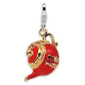 Gold-Plated Red Enameled Tea Pot Charm in Sterling Silver