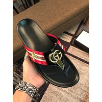 GUCCI Woman Men Fashion Leather Slipper Sandals Shoes