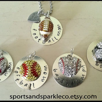 Hand Stamped Personalized Charm Necklace with Rhinestone Sports Ball Charm and Jersey Number Heart