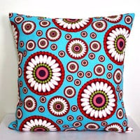Throw Pillow Cover 16x16 Cotton Decorative Toss Couch Bed Pillow Decorator Fabric River Blue White Pink Green Plum Red