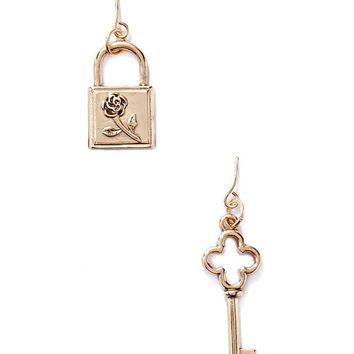 Lock & Key Drop Earrings