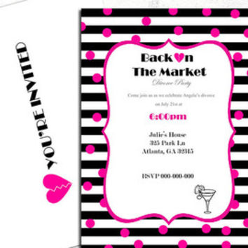 Divorce Party, Bachelorette, Cocktail Invitation, Pink, Black, Stripe, I'm Single, unwed, untying the knot, I'm done ready to mingle