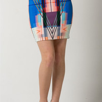 (amq) Abstract print tube skirt