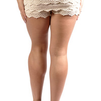 White Multi-Layered Chiffon Shorts