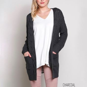 late at night knit cardigan - charcoal