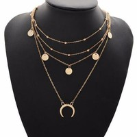Crescent Charm Layered Necklace