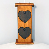Wooden Cabinet with Heart Drawers, Small Tabletop Blue Storage Box