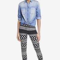Mixed Print Stretch Cotton Legging from EXPRESS