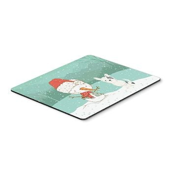 Black and White Terrier Snowman Christmas Mouse Pad, Hot Pad or Trivet CK2095MP