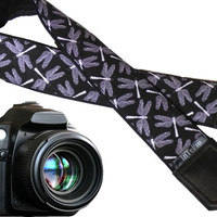 Dragonfly camera strap. Grey rafters.Grey and black camera strap DSLR. Elegant photographer accessory. Classic camera gear by InTePro