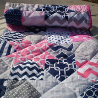 Nautical Baby quilt,patchwork crib quilt,baby girl bedding,baby girl quilt,hot pink,navy,grey,chevron,waves,dots,toddlerCatch a falling star