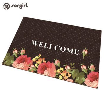 Autumn Fall welcome door mat doormat Home Welcome Flower   Front  Carpet Entrance Indoor eco-friendly natural Non-slip Floor Mat Bath living room Rug AT_76_7