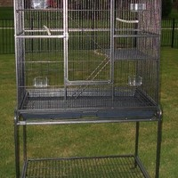 New Large Wrought Iron 4 Levels Ferret Chinchilla Sugar Glider Rats Cage With Removable Stand, 32-Inch by 19-Inch by 60-Inch *Black Vein*