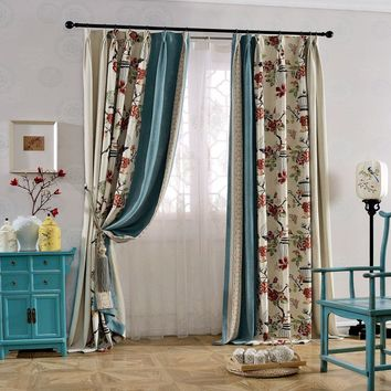 A627 Cream/Damask Rose Pattern/Ocean Blue 3 in 1 Window Curtain Panel
