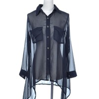 Anna-Kaci S/M Fit Black Breast Pocket Baggy Sheer Chiffon L/S Loose Button Down