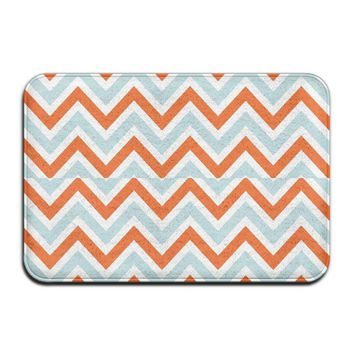 Autumn Fall welcome door mat doormat Dutt J Blue Orange Stripes Absorbent 40x60cm Entry Way Outdoor  With Non Slip Waterproof Thin Low Profile s AT_76_7