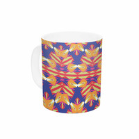 "Miranda Mol ""Ethnic Border"" Indigo Orange Ceramic Coffee Mug"