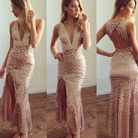 Gold Sleeveless Deep V Neck Back Cut Out Side Slit Sequined Maxi Dress
