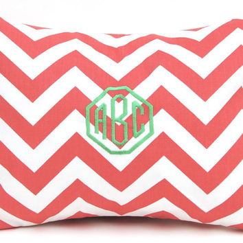 Euro Sham Coral Pillow Decorative Throw Pillow Covers One 24 x 24 Inches Combo Coral Chevron and Chain Link on White