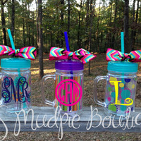 Monogrammed Double Wall Mason Jar with Straw & Lid (Choose your Pattern)