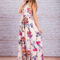 Wild Flower Fun Maxi Dress, Ivory