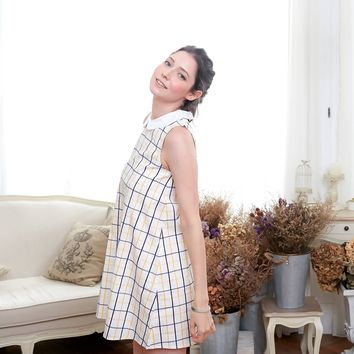 Windowpane A-Line Dress