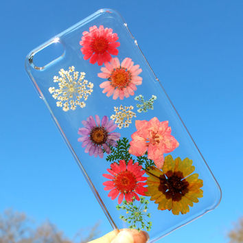 Hand Selected Natural Dried Pressed Flowers Handmade on iPhone 6 Crystal Clear Case: Cute Girly Multiple Color Flower Faceplate