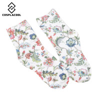 [COSPLACOOL]NEW! Spring fall/winter women's socks high quality retro fashion flower printing cotton socks