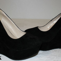 Brand New Women's Round Toe Suede Black color High Heel Platform Wedge Pumps