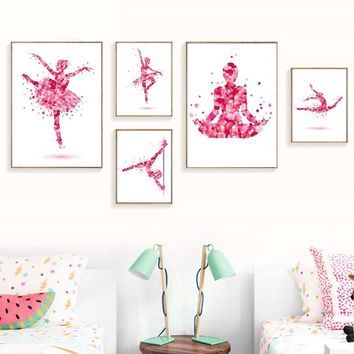 Dancing Yogo Petals Fairy Girl Wall Art Print For Girls Bedroom Canvas Painting Modern Wall Picture Nordic Poster For Home Decor