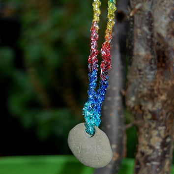 Hag Stone Connection to the Goddess Ocean Protection Fertility Holey Stone Rainbow Cord Necklace