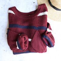 chunky oversized stripe knit boyfriend sweater - burgundy